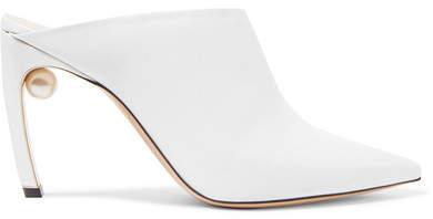 Nicholas Kirkwood Mira Faux Pearl-embellished Leather Mules - White