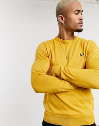 Fred Perry classic cotton crew neck jumper in yellow