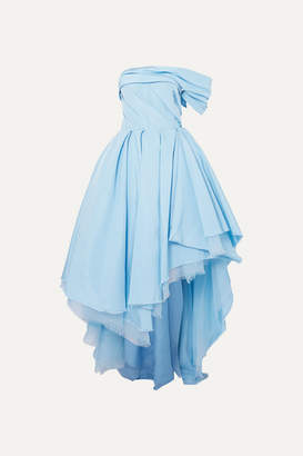 Alexander McQueen One-shoulder Asymmetric Distressed Silk-twill Gown - Blue