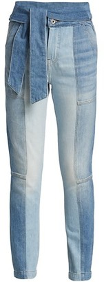 JONATHAN SIMKHAI STANDARD Paisley High-Rise Tie-Waist Straight Jeans