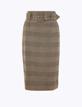 Marks and Spencer Belted Checked Midi Pencil Skirt