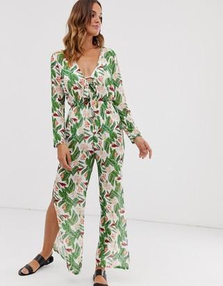 UNIQUE21 tropical floral print tie front jumpsuit-Green