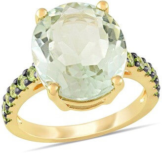 Delmar Yellow Gold Plated Sterling Silver Green Amethyst Pave Peridot Cocktail Ring
