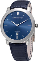 Harry Winston Midnight Blue Dial Blue Leather Automatic Men's Watch