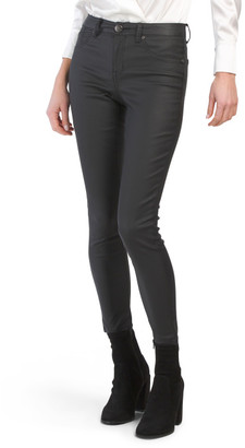 Coated Faux Leather Ankle Skinny Jeans