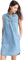 Gap TENCEL denim lace-up shirtdress