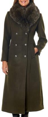 One Madison Fox Fur Shawl-Collar Maxi Coat