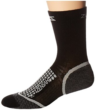 Zensah Grit Running Socks Crew (Black) Crew Cut Socks Shoes