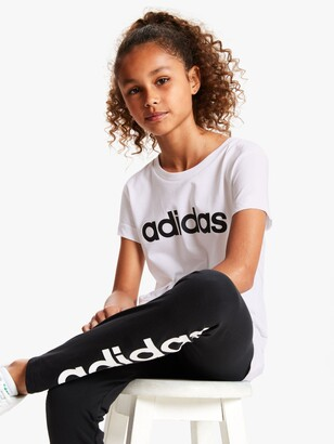 adidas Girls' Linear Logo T-Shirt, White