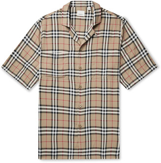 Burberry Oversized Camp-Collar Checked Woven Shirt