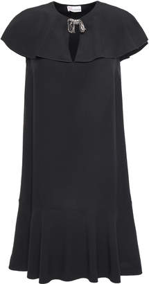 RED Valentino Crystal And Bow-embellished Satin-crepe Mini Dress