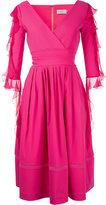 Preen by Thornton Bregazzi ruffled sleeve V-neck dress - women - Nylon/Spandex/Elastane/Acetate - L