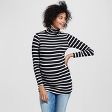 Maternity Long Sleeve Striped Turtleneck Black/Ivory - Expected by Lilac