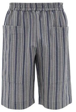 Jil Sander Striped Cotton-blend Canvas Shorts - Mens - Blue