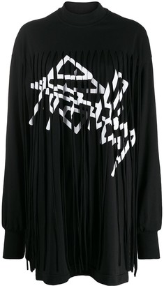 Palm Angels Two-Tone Fringed Dress