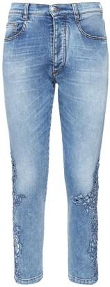 Ermanno Scervino Cotton Denim Jeans W/ Embroidered Detail