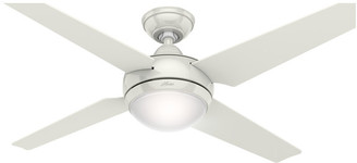 Hunter Fan Company Sonic Ceiling Fan w/ Light & Handheld Remote, White