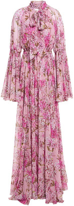 Giambattista Valli Pussy-bow Gathered Floral-print Silk-chiffon Gown