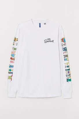 H&M Long-sleeved Jersey Shirt - White