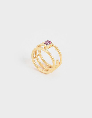 Charles & Keith Crystal Embellished Caged Ring