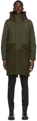 Herno Khaki Wool Long Mixed Media Coat