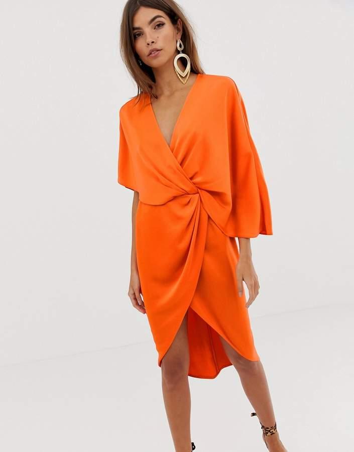 Asos Design DESIGN kimono midi dress in satin with asymmetric sleeve