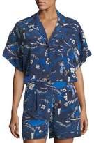 Michael Kors Short-Sleeve Welcome-Print Button-Front Camp Shirt