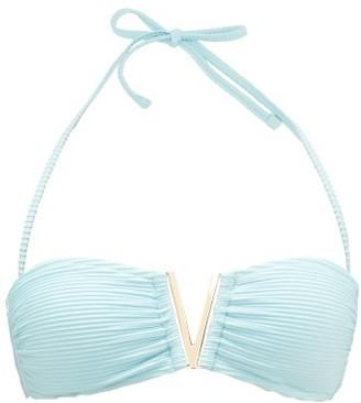 Heidi Klein Marseille V-bar Padded Bandeau Bikini Top - Light Blue