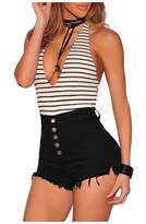 Alaroo Boyfriend Denim Shorts Womens Girls Raw Edge Hem Jeans Shorts Black L