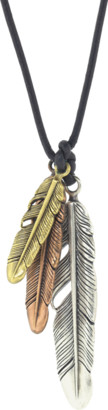 John Varvatos Mixed Metal Feathers on Leather Cord