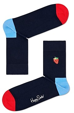 Happy Socks Embroidered Strawberry Crew Socks
