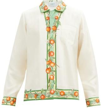 Casablanca Orange And Vine-print Silk-faille Shirt - White