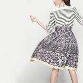 Maje Printed charmeuse midi skirt