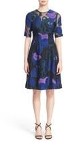 Lela Rose Women's 'Holly' Leaf Fil Coupe Fit & Flare Dress