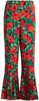 Gucci Floral-print pleated-hem silk trousers