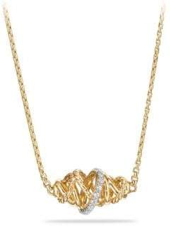 David Yurman Crossover Single Station Necklace with Diamonds in 18K Gold