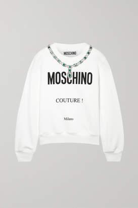 Moschino Embellished Printed Cotton-jersey Sweatshirt - Ivory