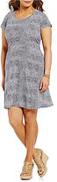 MICHAEL Michael Kors Scoop Neck Cap Sleeve Reptile Print Matte Jersey Dress