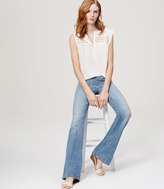 LOFT Button Fly Flare Jeans in Classic Light Indigo Wash