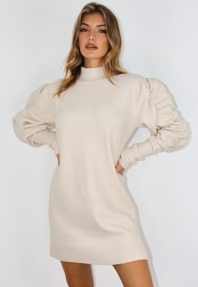 Missguided Cream Ruched Sleeve Jumper Dress