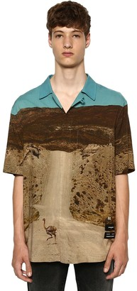 Marcelo Burlon County of Milan All Over Ostrich Print S/s Viscose Shirt
