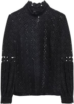 Claudie Pierlot Velvet-trimmed Cotton-blend Fleece Sweatshirt