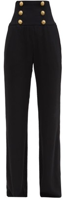 Balmain Button-embellished High-rise Wide-leg Trousers - Black