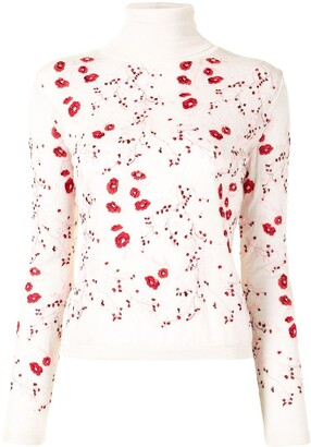 Giambattista Valli Roll Neck Floral Embroidered Top