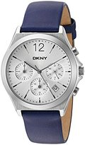 DKNY Women's 'Parsons' Quartz Stainless Steel and Leather Casual Watch, Color:Blue (Model: NY2476)