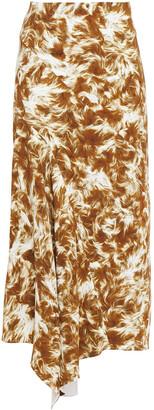 Victoria Beckham Asymmetric Printed Stretch-crepe Midi Skirt