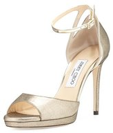 Jimmy Choo Pearl Leather 100mm Sandal, Gold/Champagne