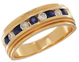 Lord & Taylor 0.34TCW Diamond, Sapphire and 14K Yellow Gold Ring