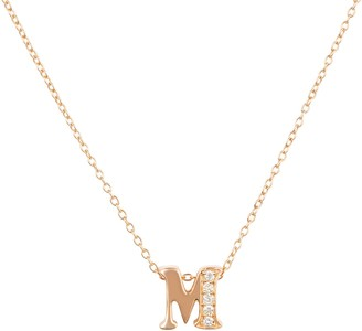 Latelita Diamond Initial Letter Pendant Necklace Rose Gold M