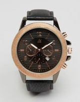 Asos Watch In Black And Rose Gold With Date